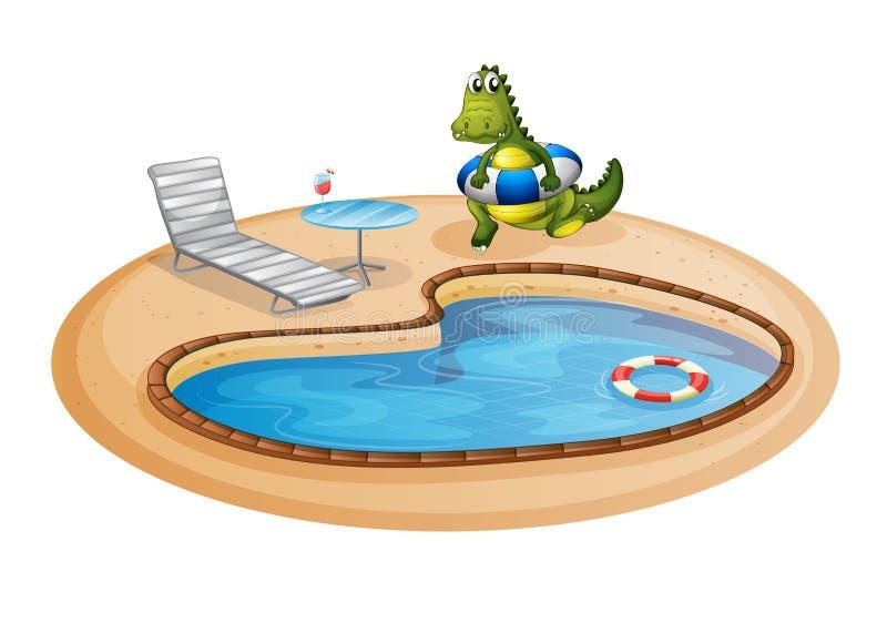 Een zwembad met een krokodil binnen een boei stock illustratie
