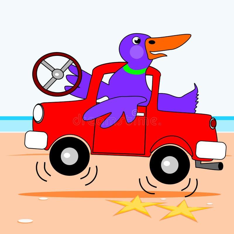 Eend die een vrachtwagen drijven vector illustratie