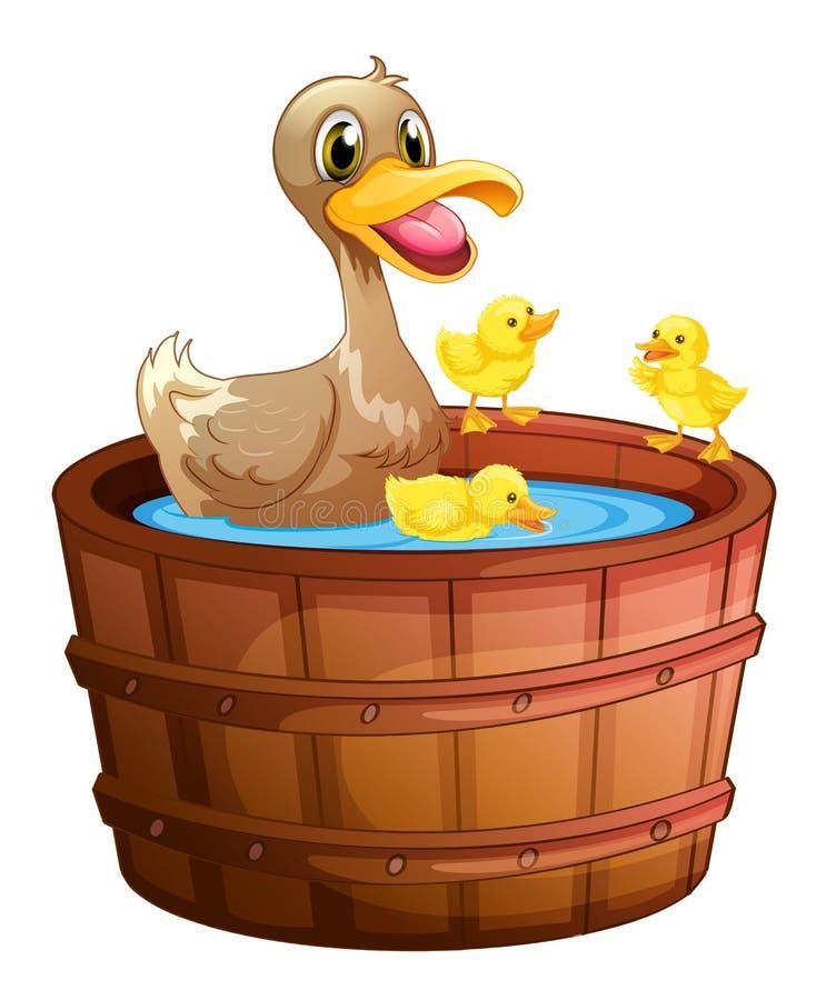 Eenden die een bad nemen bij de badkuip royalty-vrije illustratie