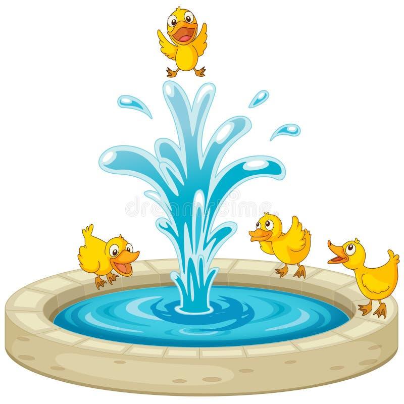 Eenden en fontein vector illustratie