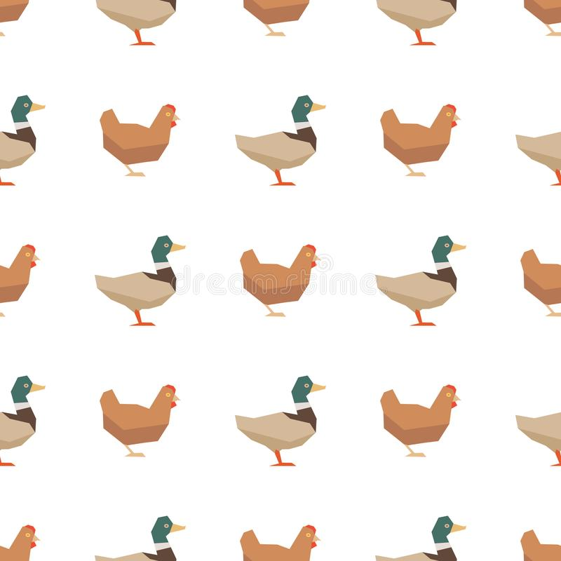 Eenden en kippen naadloos patroon royalty-vrije illustratie