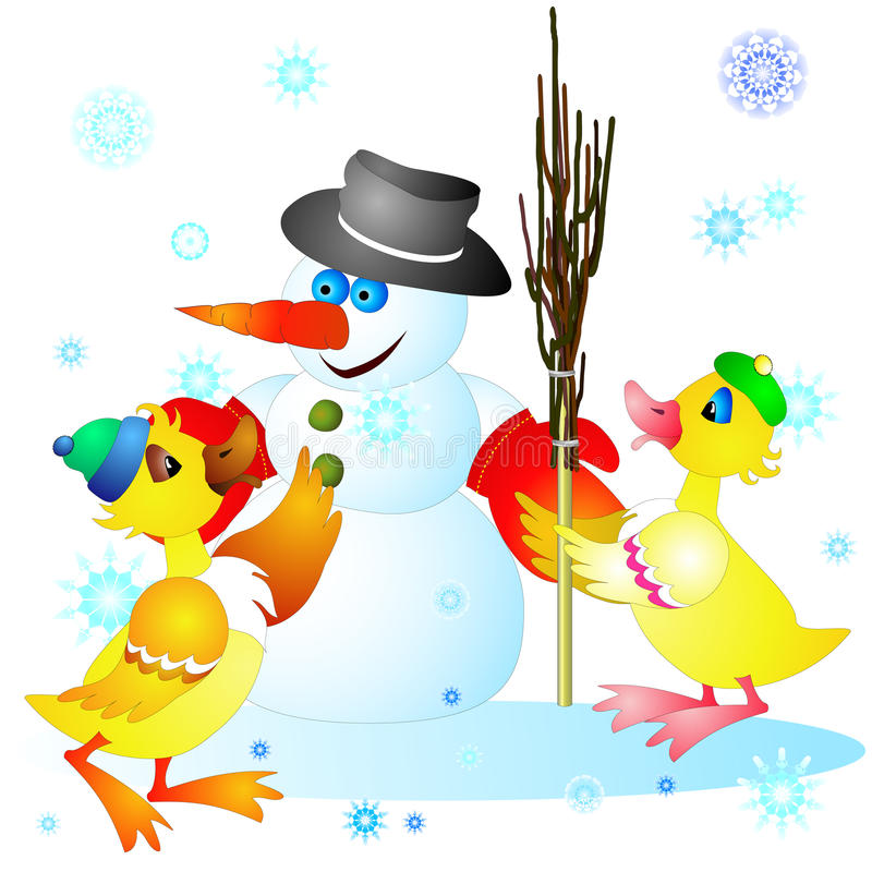 Eendjes en sneeuwman vector illustratie