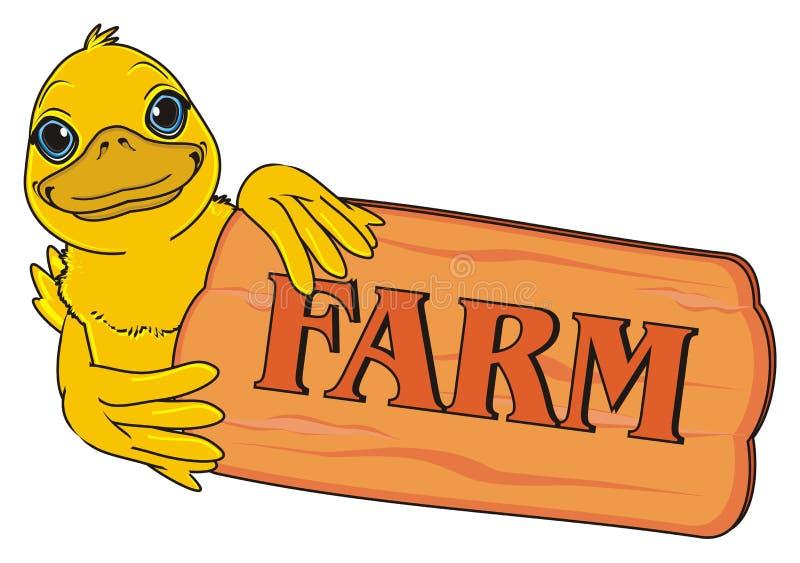 Eendstok uit van houten banner stock illustratie