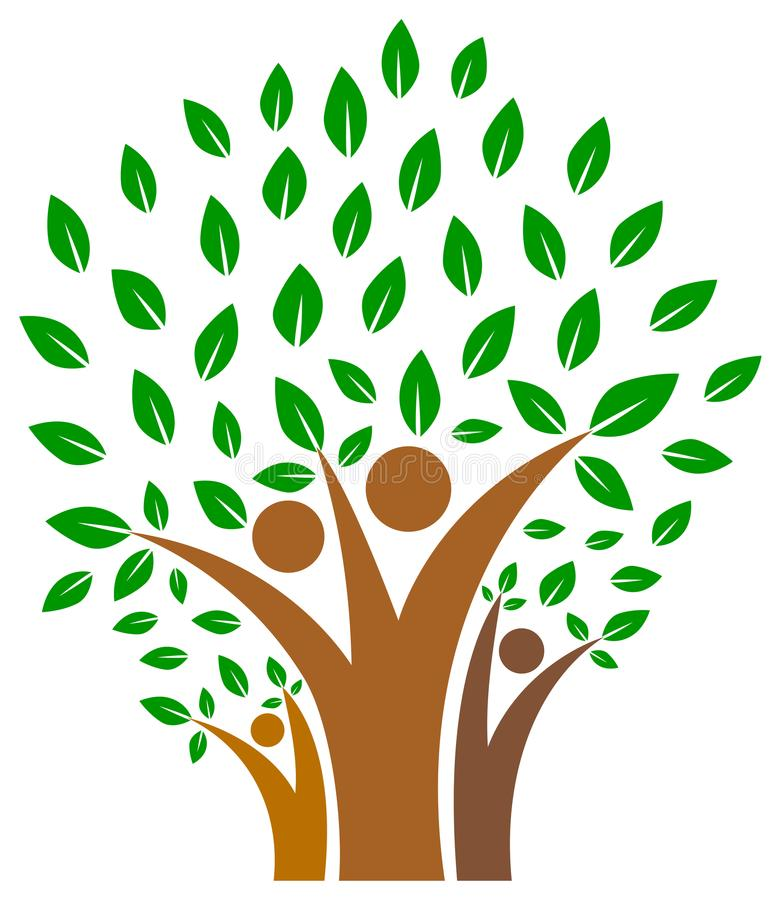 Eenheid in familie van het embleem van de mensenboom stock illustratie
