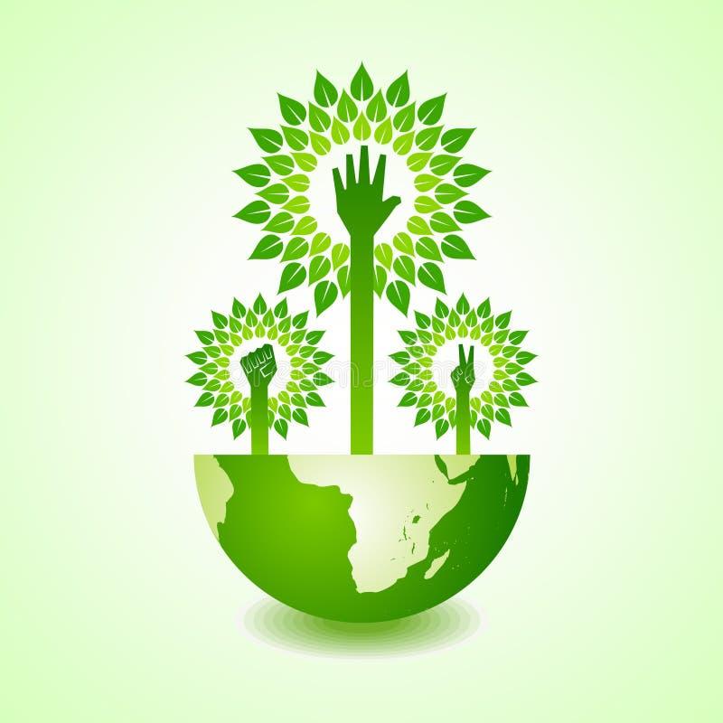 Eenheid, overwinning en het helpen van hand boom ter wereld maken royalty-vrije illustratie