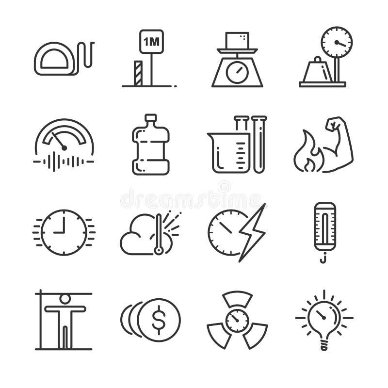 Eenheid van de reeks van het metingspictogram Omvatte de pictogrammen als mijlen, meter, ton, kilogram, decibel, graden Celsius e vector illustratie