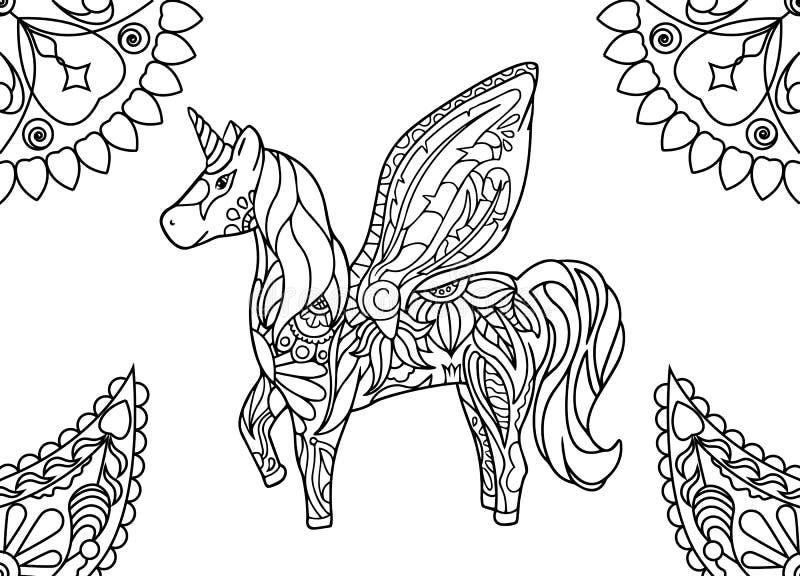 Mandalas Para Pintar Animal Bordeado De Paisaje On: Eenhoorn Die Met Mandalas Pagina Kleuren Stock Illustratie
