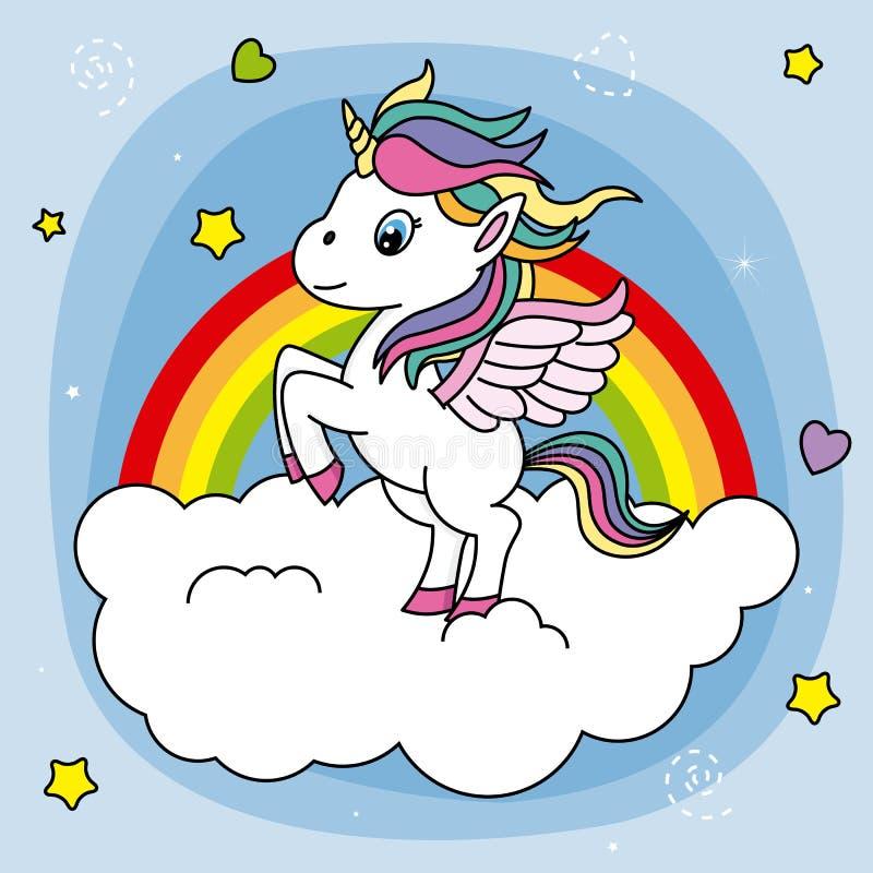 eenhoorn die op een wolk springen royalty-vrije illustratie