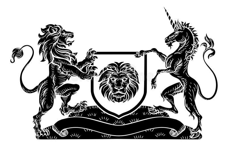 Eenhoorn en Lion Heraldic Coat van Wapenscrest royalty-vrije illustratie