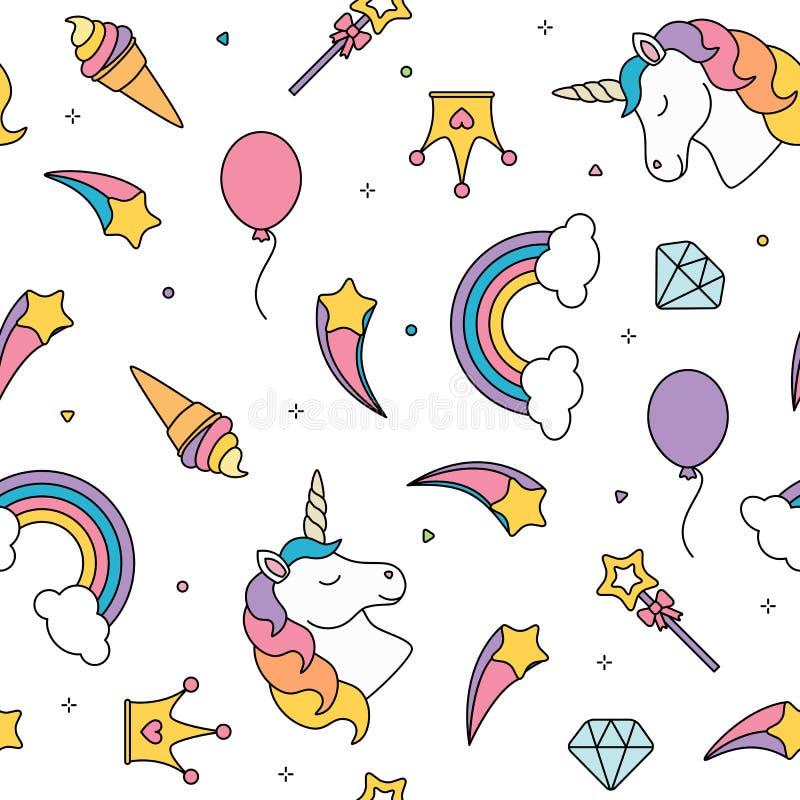 Eenhoorn en regenboog naadloos die patroon op witte achtergrond wordt geïsoleerd royalty-vrije illustratie