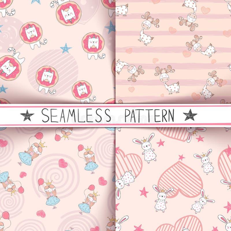 Eenhoorn, herten, meisje, konijn - naadloos patroon stock illustratie