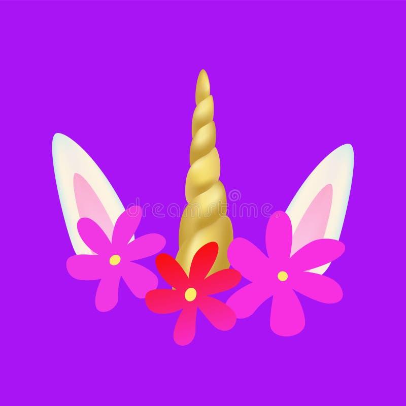 Eenhoorn leuk pictogram, regenboog fairytale masker royalty-vrije illustratie