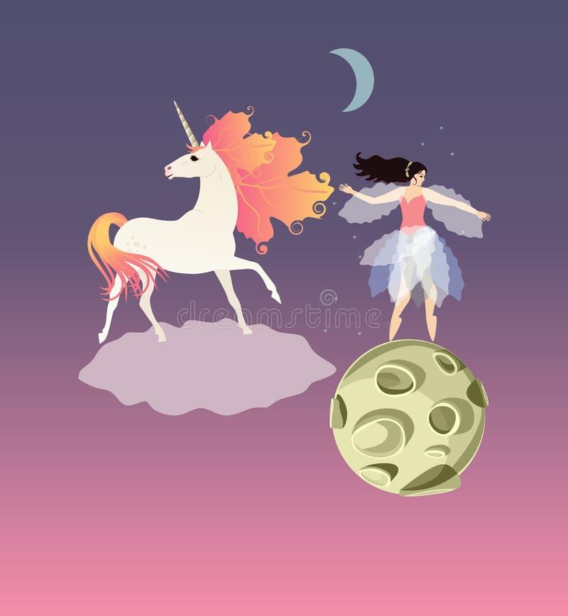 Eenhoorn met oranje manen in vorm van de herfstbladeren op de wolk en feeballerina op de groene planeet vector illustratie