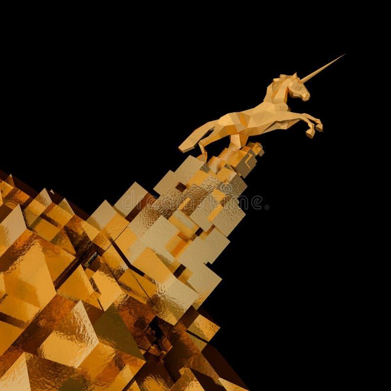 Eenhoorn op gouden kubusberg opstarten, illustratieconcept van leider op een markt het 3d teruggeven 3D Illustratie stock illustratie