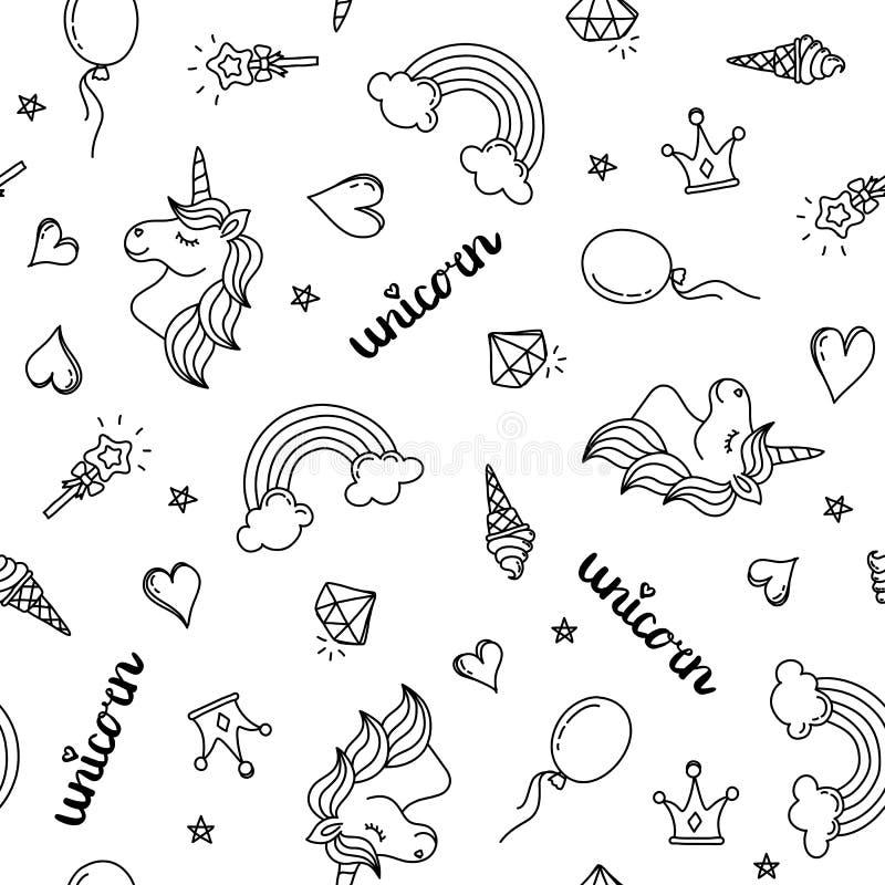 Eenhoorn, regenboog en van het harten naadloze patroon hand die zwart geïsoleerd overzicht trekken royalty-vrije illustratie