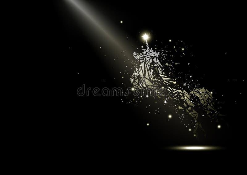 Eenhoorn, sterren het gloeien fantasie en mirakel, fonkelingsruimte en melkweg, luxe, fairytale diereninzameling op zwarte samenv stock illustratie
