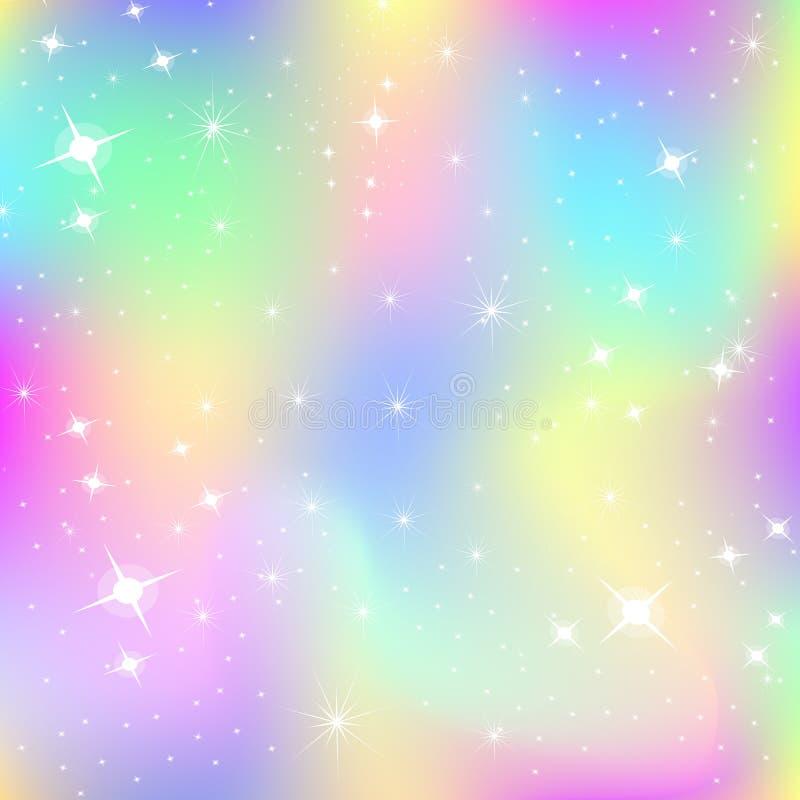 Eenhoornachtergrond met regenboognetwerk vector illustratie