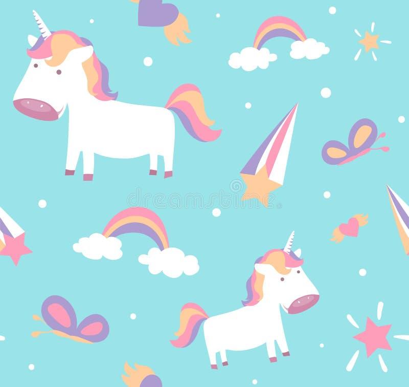 Eenhoornpatroon Leuk naadloos ontwerp met babyponey, sterren, regenboog, vlinder stock illustratie