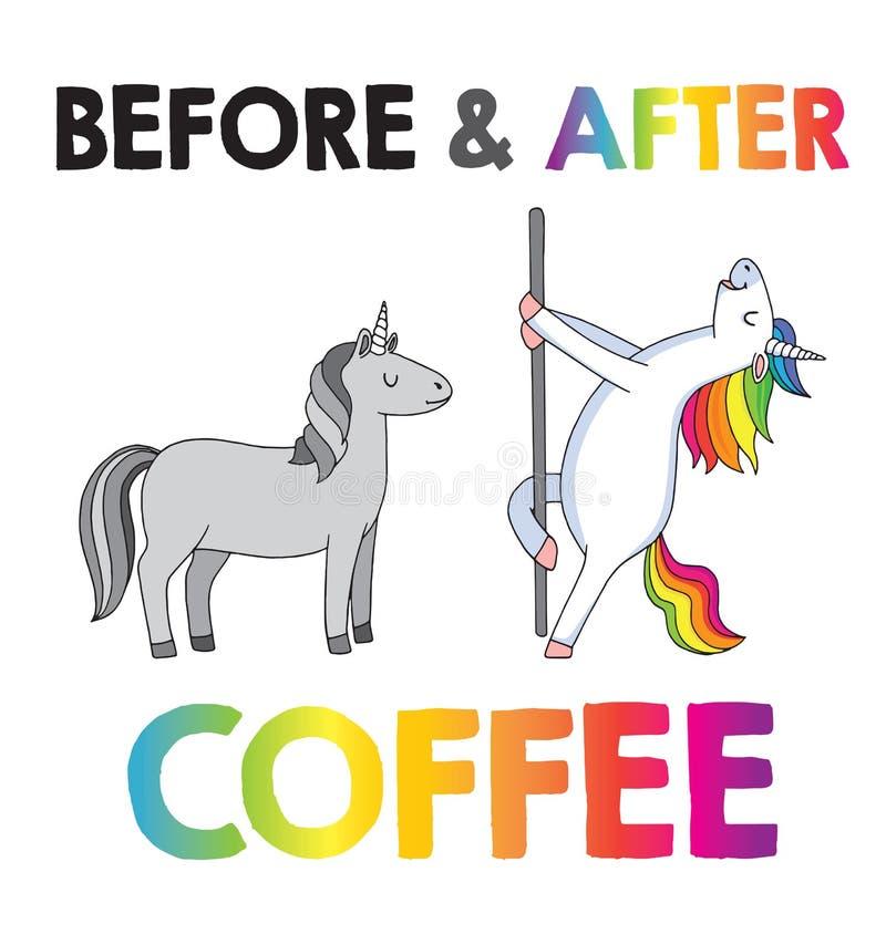 Eenhoorns - Before and after koffie royalty-vrije illustratie
