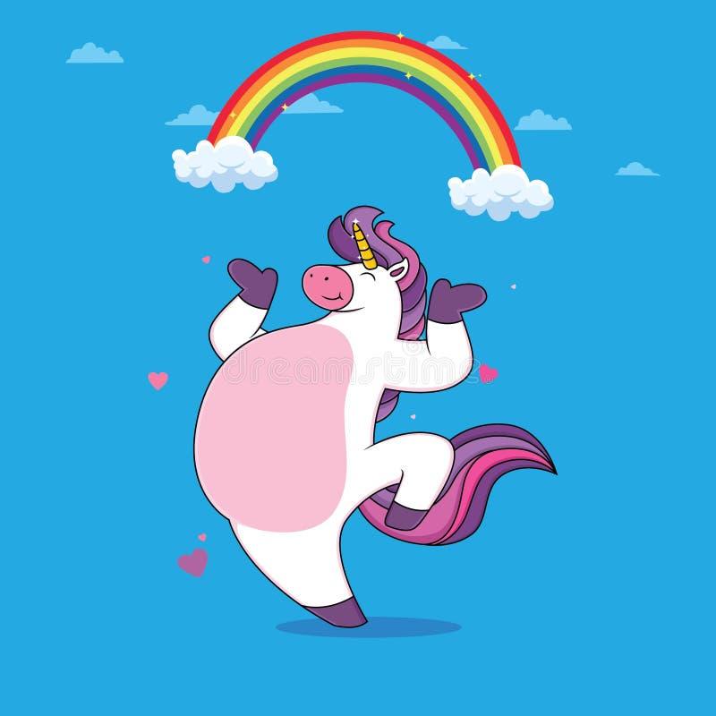 Eenhoornsdans met regenbogen stock illustratie