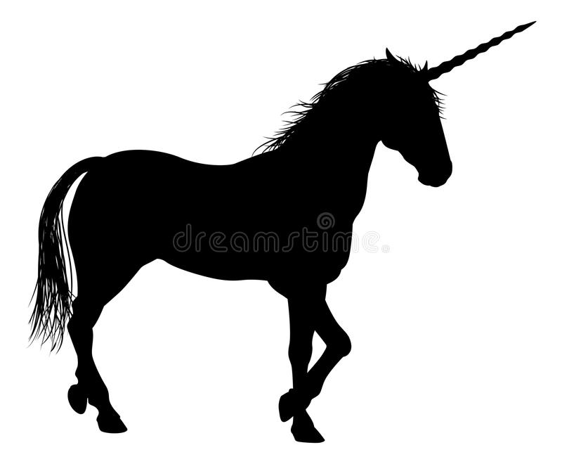 Eenhoornsilhouet stock illustratie