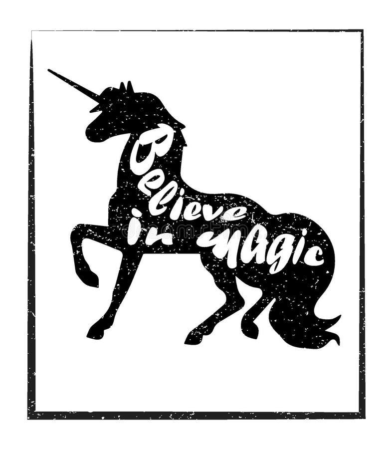 Eenhoornsilhouet met motievencitaten vector illustratie