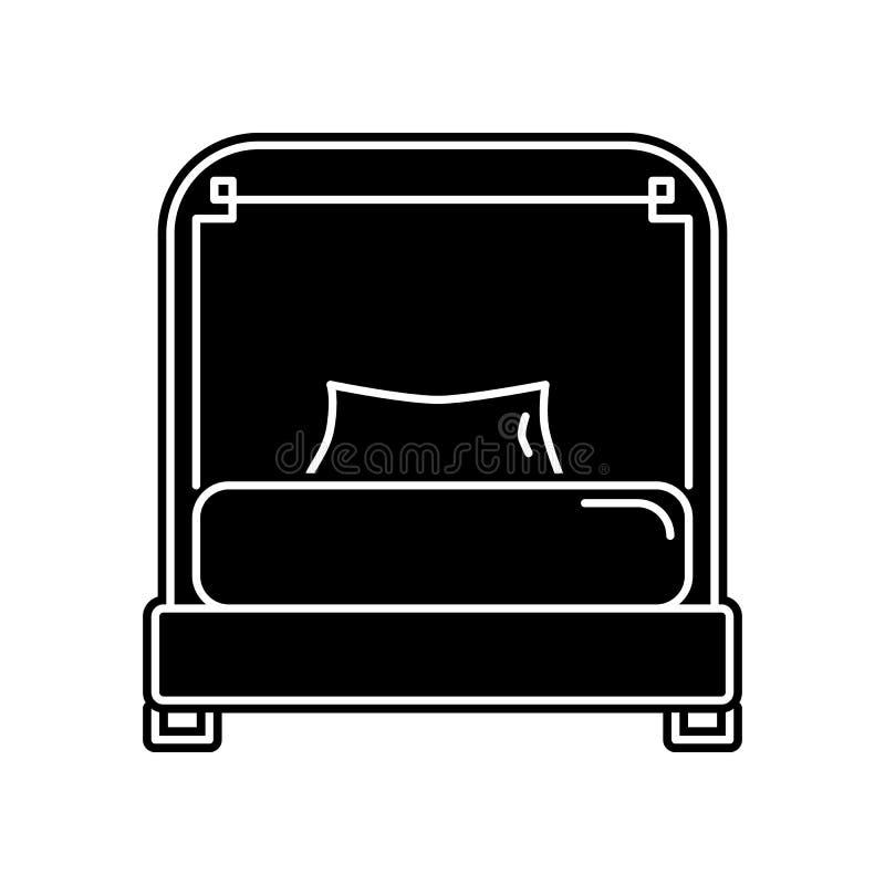 eenpersoonsbedpictogram Element van huishouden voor mobiel concept en webtoepassingenpictogram Glyph, vlak pictogram voor website royalty-vrije illustratie