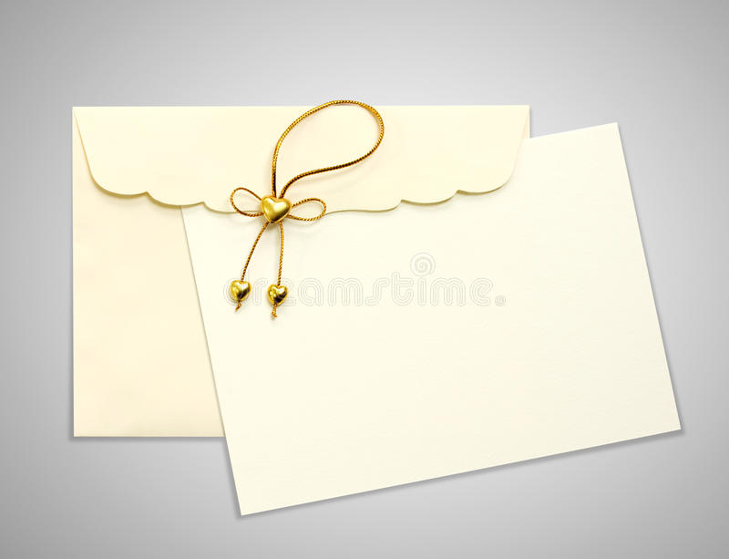 EEnvelope and mail. Envelope and mail wedding invitations, golden heart royalty free stock images