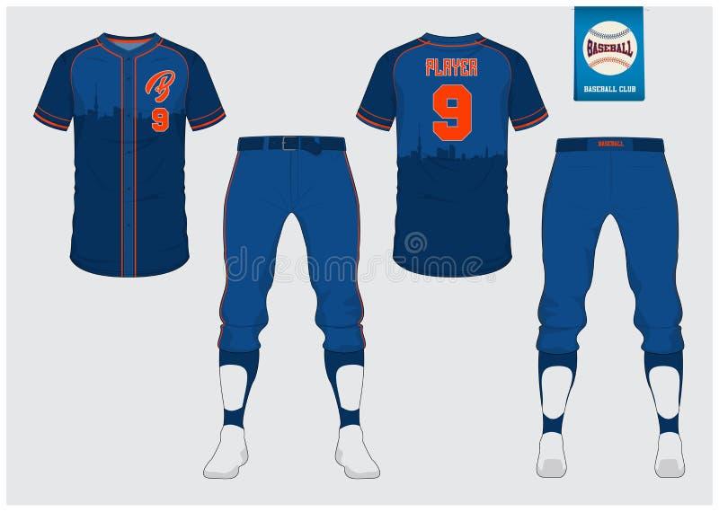 Eenvormig honkbal, sport Jersey, t-shirtsport, kort, sokmalplaatje De spot van de honkbalt-shirt omhoog Voor en achter eenvormige stock illustratie