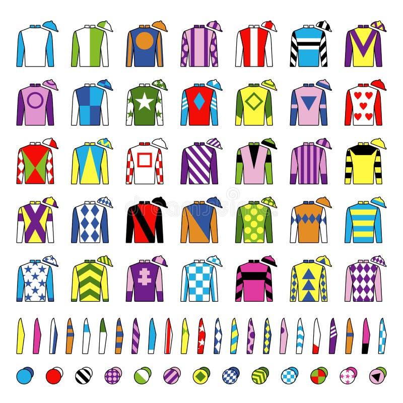 Eenvormige jockey Traditioneel ontwerp Jasjes, zijde, kokers en hoeden Ruiter op een paard Paard Racing Geplaatste pictogrammen g stock illustratie