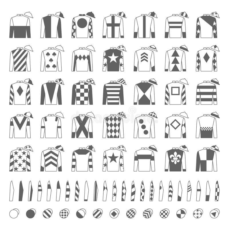 Eenvormige jockey Traditioneel ontwerp Jasjes, zijde, kokers en hoeden Ruiter op een paard Paard Racing Geplaatste pictogrammen g royalty-vrije illustratie
