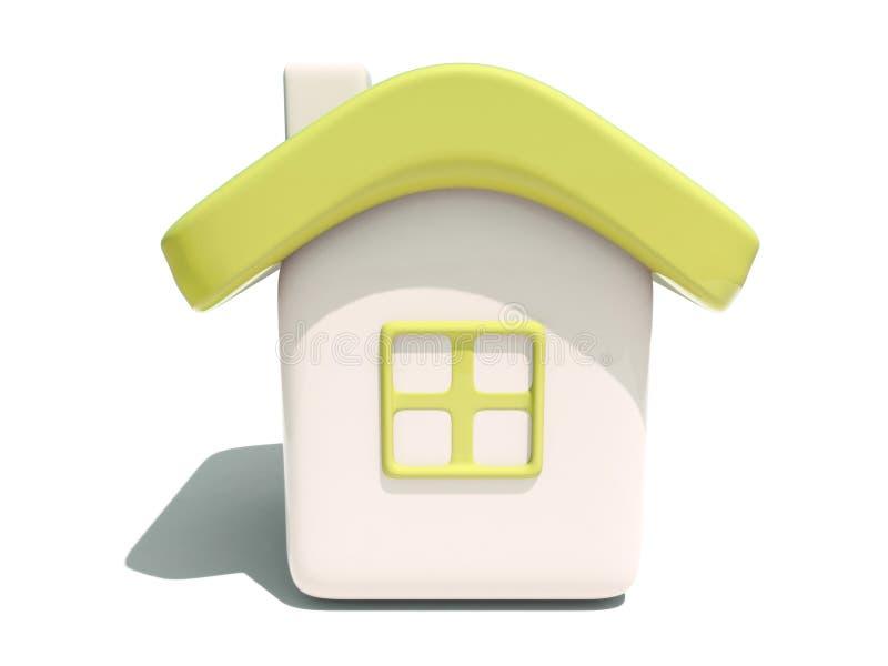 Eenvoudig 3d geel huis vooraanzicht stock illustratie