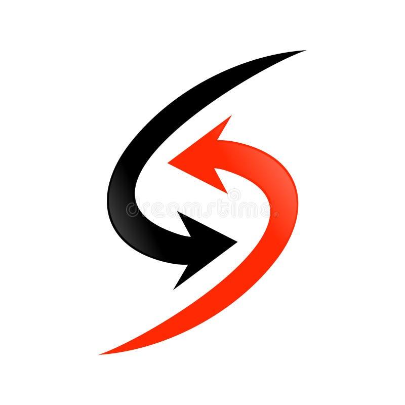 Eenvoudig Aanvankelijk S Lettermark het Symboolontwerp van de Pijlstroom stock illustratie