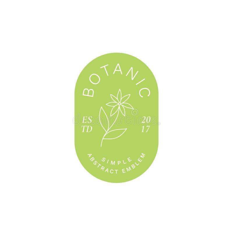 Eenvoudig Abstract Botanisch Etiket, Embleem of Logo Template De Bloem Silhoutte van de lijnstijl en Moderne Typografie royalty-vrije illustratie