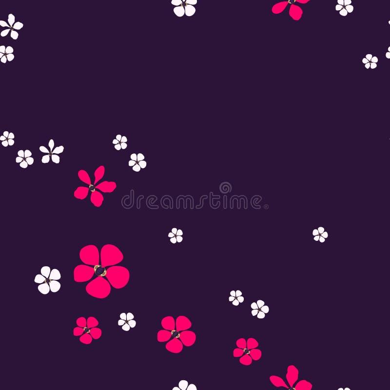 Eenvoudig abstract wit en helder roze bloemen en goud met diamanten op donkere purple vector illustratie