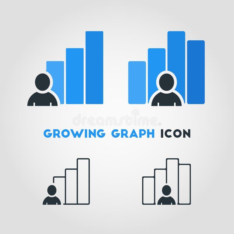 Eenvoudig Bedrijfs Vectorpictogram van Zakenman With Growing Graph  vector illustratie