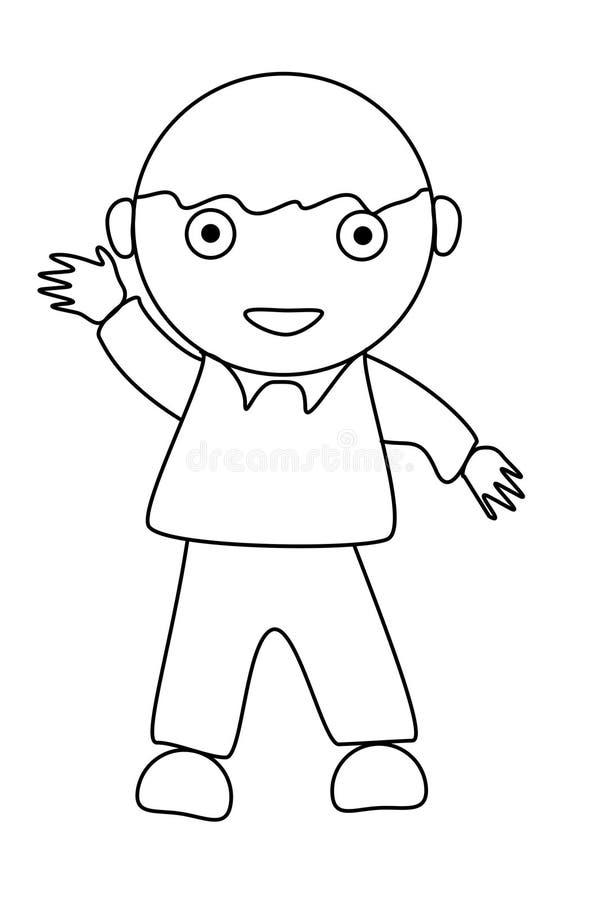 Download Eenvoudig Beeldverhaal Van Een Leuke Jongen Stock Illustratie - Illustratie bestaande uit zwart, dwaas: 29504528