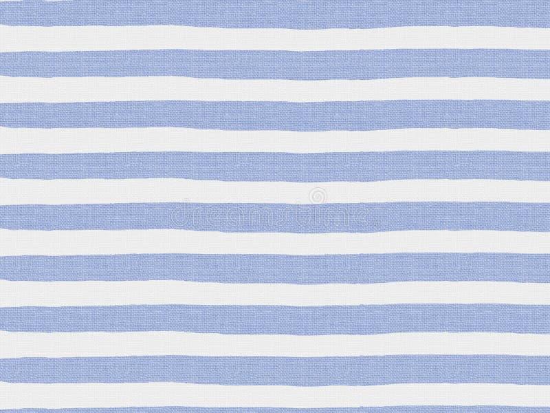 Eenvoudig blauw gestreept patroon op linnenstof stock illustratie