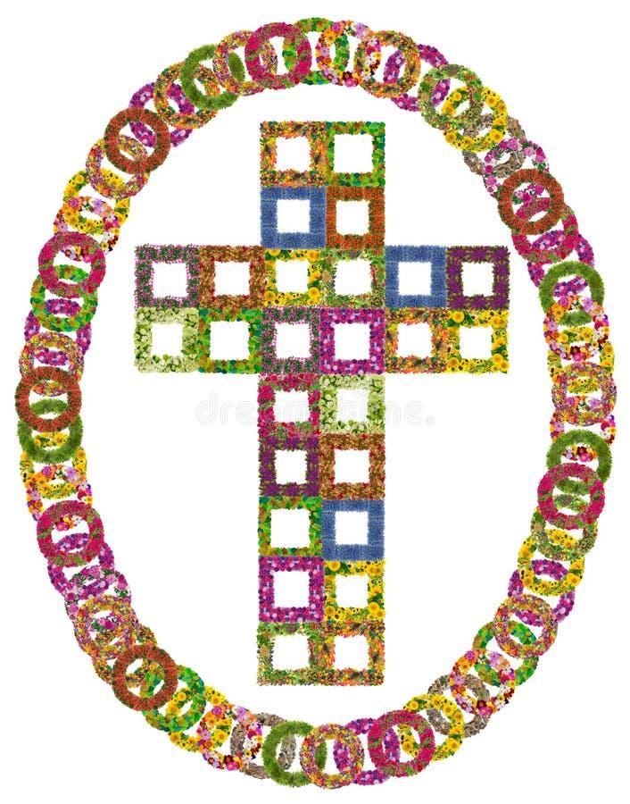 Eenvoudig bloemen Katholiek kruis stock foto's