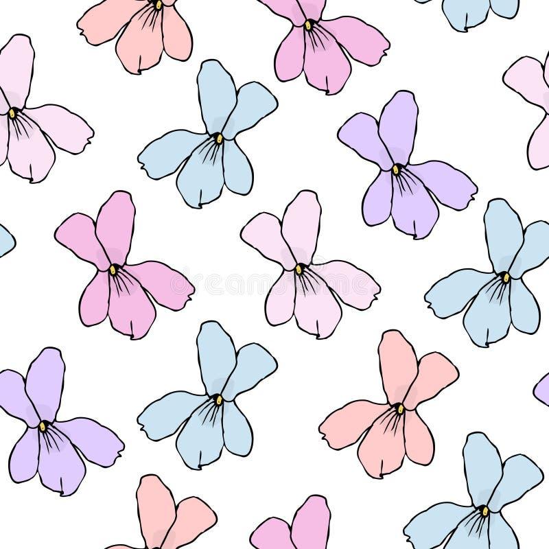Eenvoudig Bloemenpatroon voor Naadloze Achtergrond, Druk, Meubilairstoffering Kleine Bloemenverstandhouding met Silhouetten van P vector illustratie