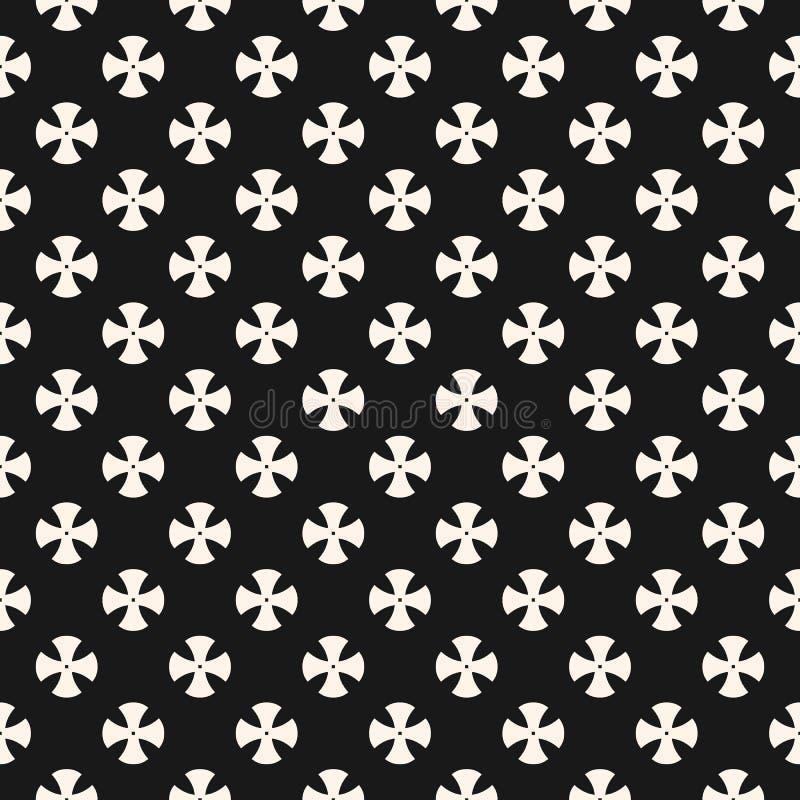 Eenvoudig bloemenpatroon Zwart-wit herhaal ontwerp voor textiel, decor, stof, tapijt vector illustratie