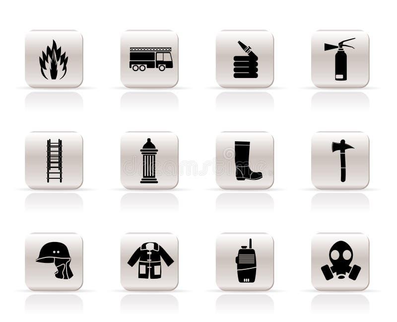 Eenvoudig brand-brigade en brandweermanapparatuur pictogram royalty-vrije illustratie