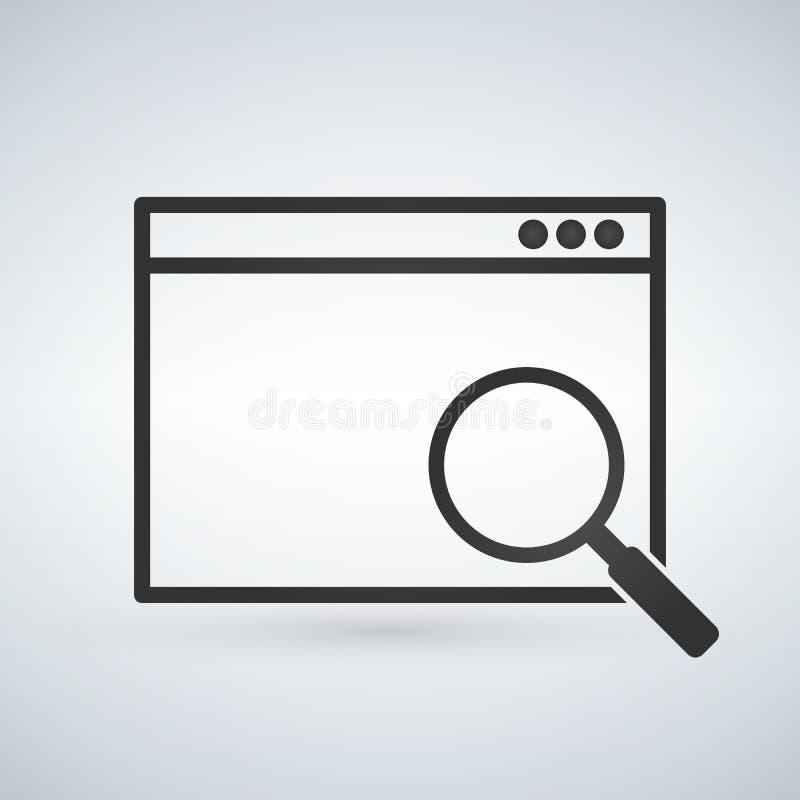 Eenvoudig browser venster met vergrootglas op moderne achtergrond Het pictogram van het onderzoeksconcept Vlakke vectorillustrati vector illustratie