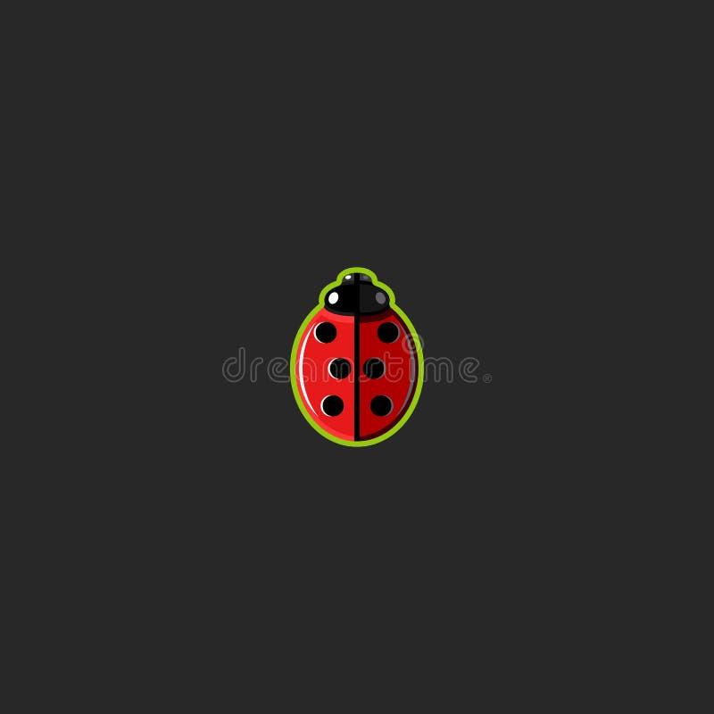 Eenvoudig de stickermodel van het lieveheersbeestjeembleem, het grappige pictogram van het onzelieveheersbeestjeinsect, creatief  vector illustratie