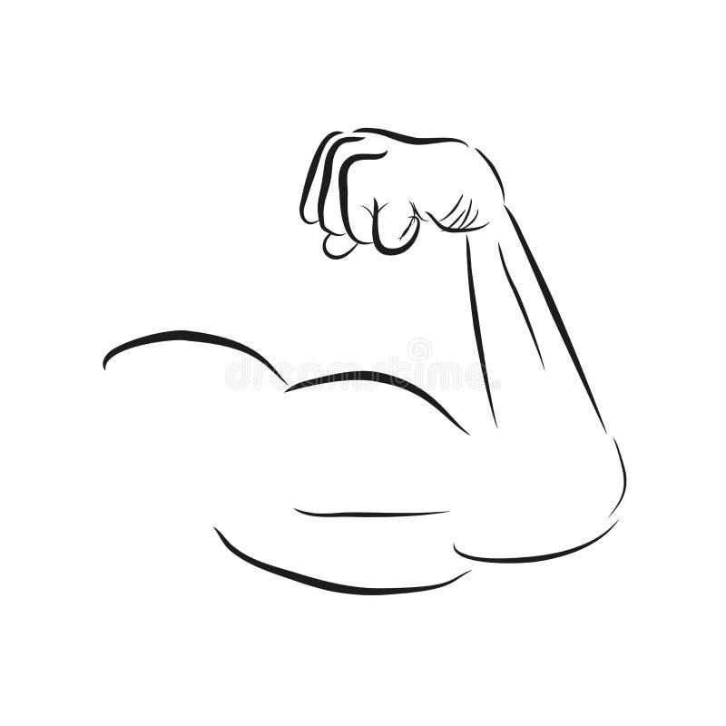 Eenvoudig die Schetswapen van de Spiermens, op Wit wordt geïsoleerd vector illustratie
