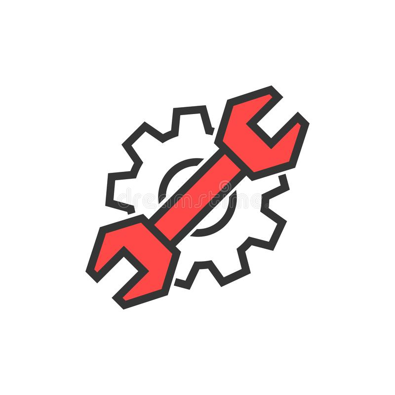 Eenvoudig dun lijnmoersleutel en toestelembleem stock illustratie