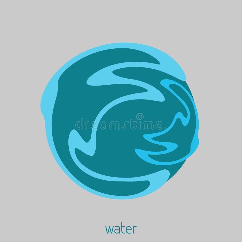 Eenvoudig embleem met een waterbal Vector royalty-vrije illustratie