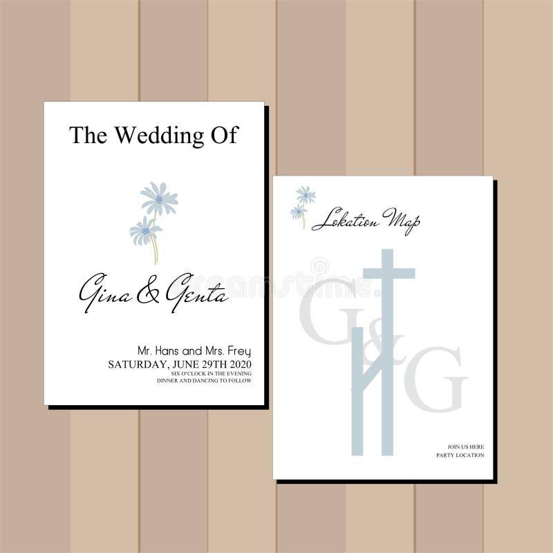 Eenvoudig en elegan huwelijksuitnodiging stock illustratie