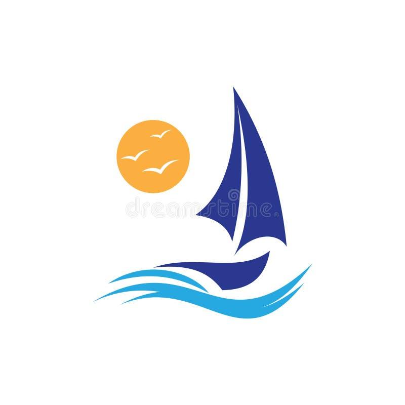 Eenvoudig en elegant zeilboot vectorconceptontwerp met abstracte golf en zon stock illustratie