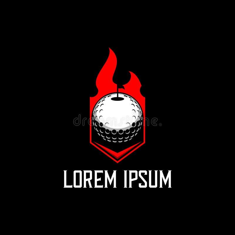 Eenvoudig en modern golfbal en brand vectorembleemmalplaatje stock illustratie